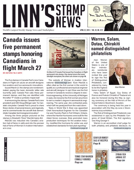 Linn's Stamp News Weekly Cover - 4/22/2019