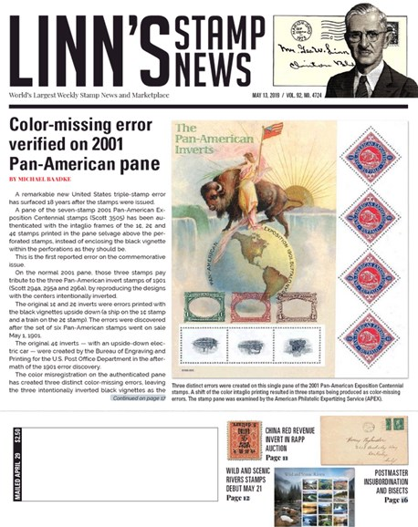 Linn's Stamp News Weekly Cover - 5/13/2019