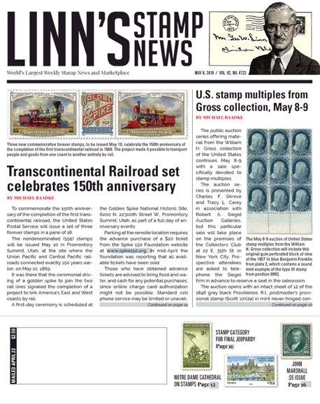 Linn's Stamp News Weekly Cover - 5/6/2019