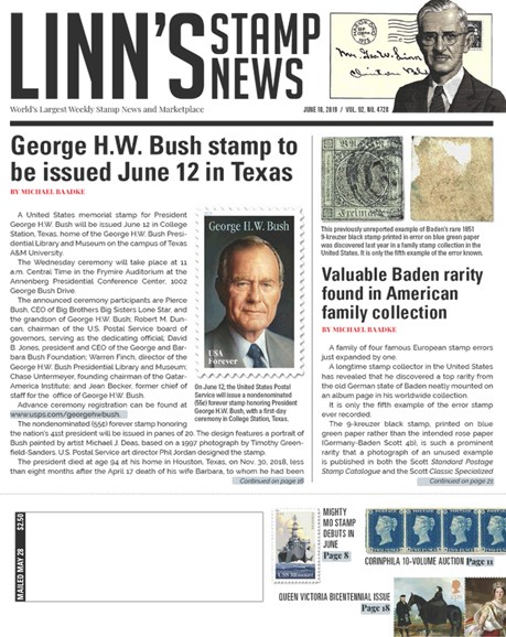 Linn's Stamp News Weekly Cover - 6/10/2019