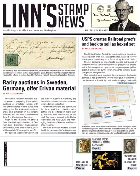 Linn's Stamp News Weekly Cover - 6/3/2019