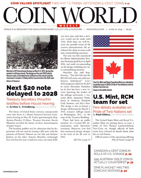 Coin World Weekly Cover - 6/10/2019