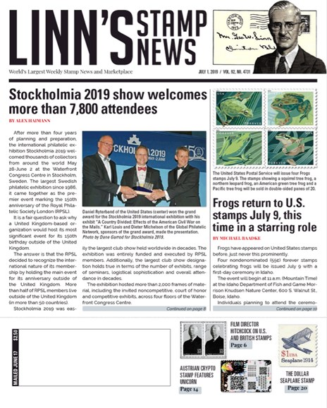 Linn's Stamp News Weekly Cover - 7/1/2019