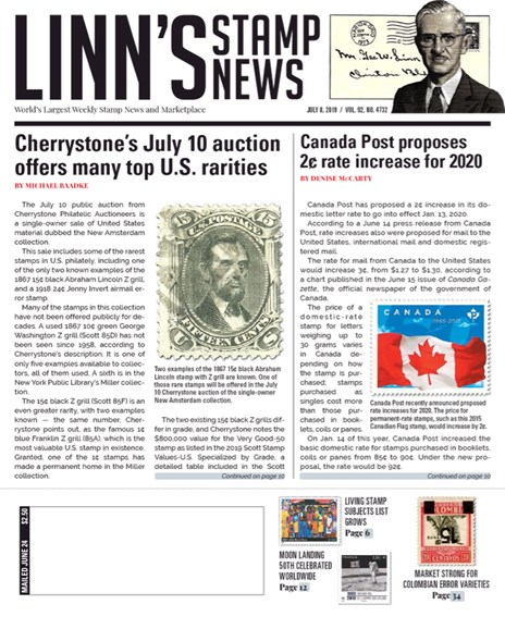 Linn's Stamp News Weekly Cover - 7/8/2019