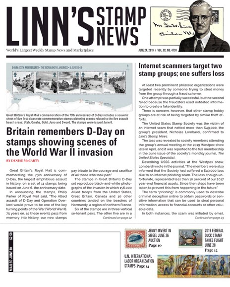 Linn's Stamp News Weekly Cover - 6/24/2019