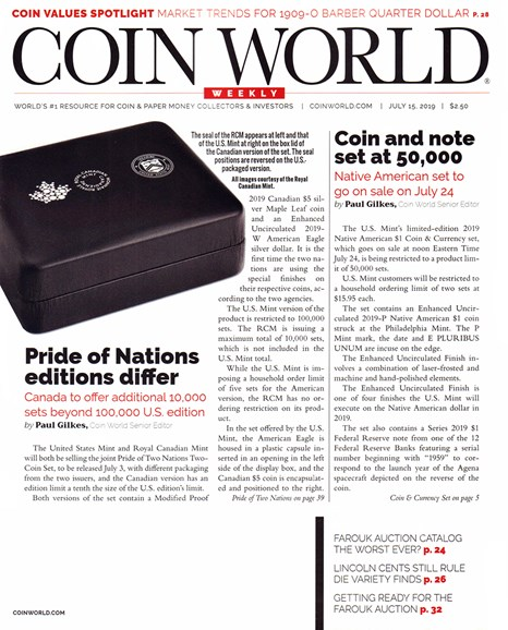 Coin World Weekly Cover - 7/15/2019