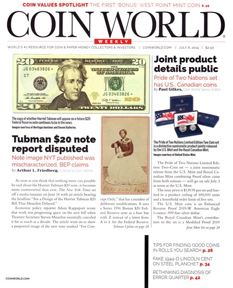 Coin World Weekly Cover - 7/8/2019
