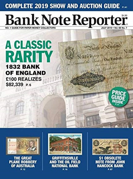 Bank Note Reporter Cover - 7/1/2019