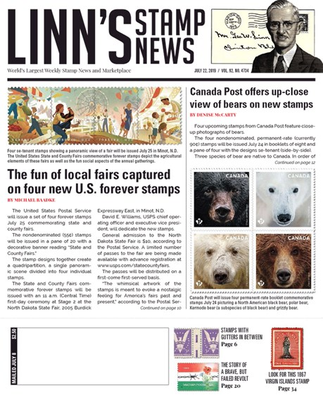 Linn's Stamp News Weekly Cover - 7/22/2019