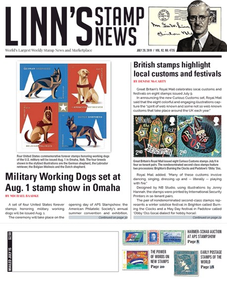 Linn's Stamp News Weekly Cover - 7/29/2019