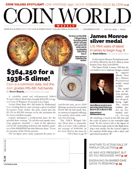 Coin World Weekly Cover - 7/22/2019