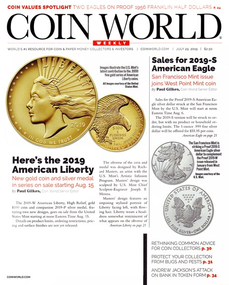 Coin World Weekly Cover - 7/29/2019