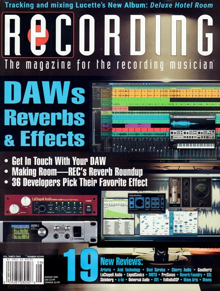 Recording Magazine Cover - 8/1/2019