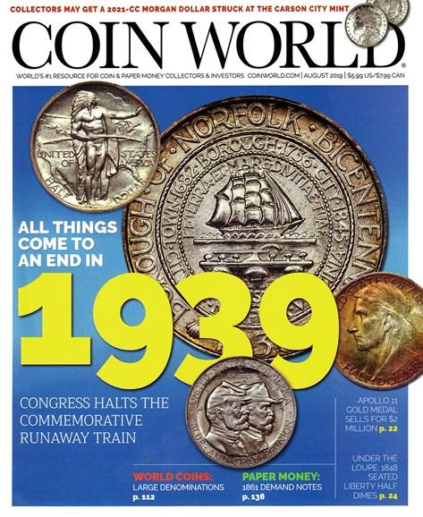 Coin World Weekly Cover - 8/1/2019