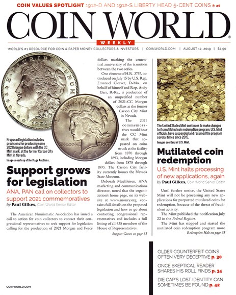 Coin World Weekly Cover - 8/12/2019