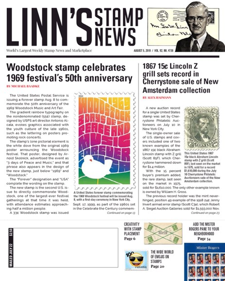 Linn's Stamp News Weekly Cover - 8/5/2019