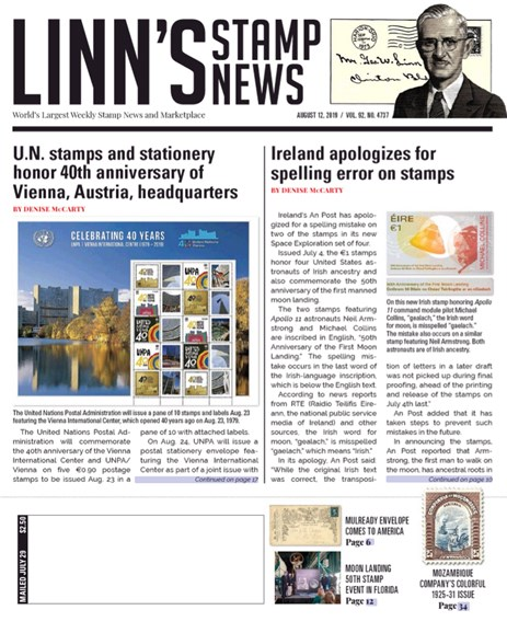 Linn's Stamp News Weekly Cover - 8/12/2019