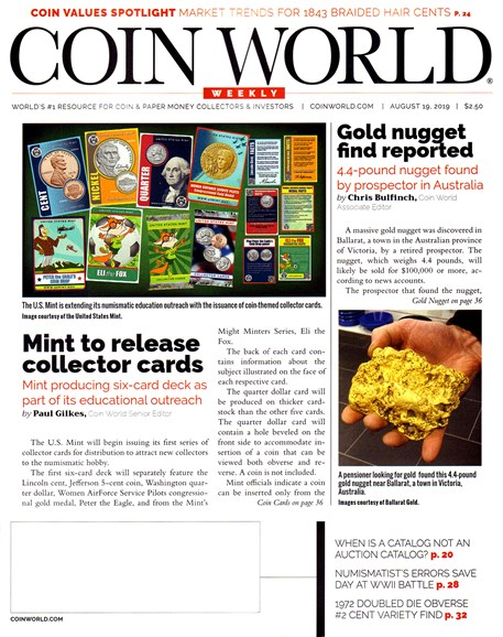 Coin World Weekly Cover - 8/19/2019