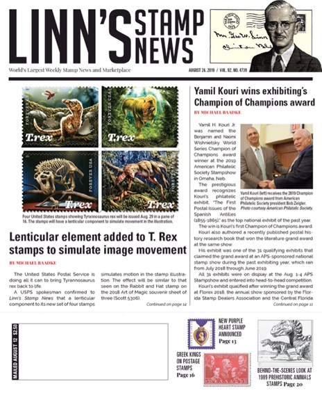 Linn's Stamp News Weekly Cover - 8/26/2019
