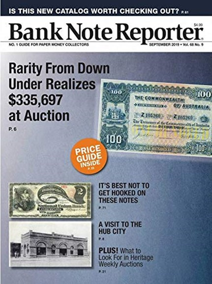 Bank Note Reporter Cover - 9/1/2019