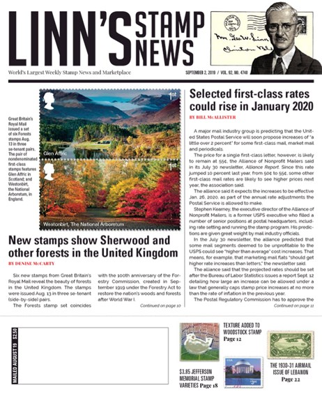 Linn's Stamp News Weekly Cover - 9/2/2019