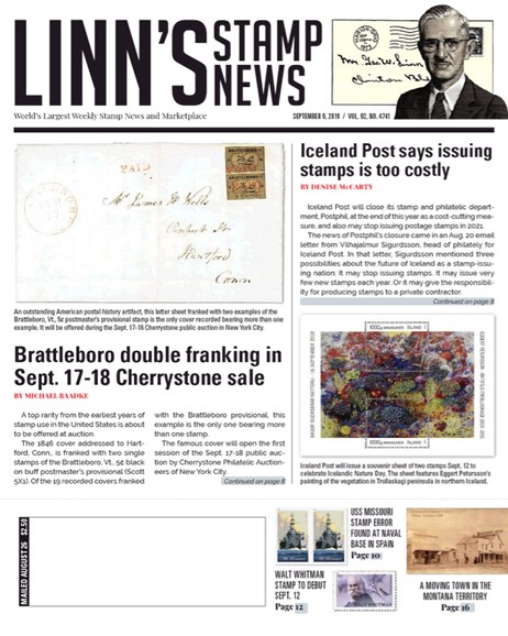 Linn's Stamp News Weekly Cover - 9/9/2019