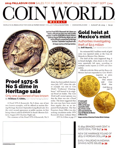 Coin World Weekly Cover - 8/26/2019
