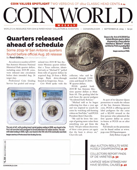 Coin World Weekly Cover - 9/16/2019
