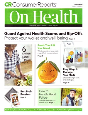 Consumer Reports On Health Magazine | 10/2019 Cover