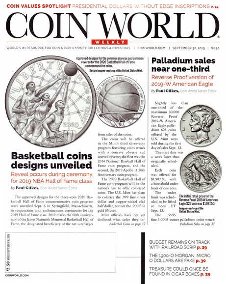 Coin World Weekly Cover - 9/30/2019