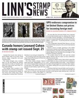 Linn's Stamp News Magazine | 10/14/2019 Cover