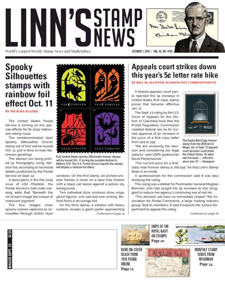 Linn's Stamp News Weekly Cover - 10/7/2019