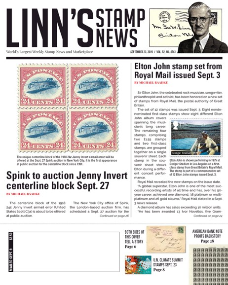 Linn's Stamp News Weekly Cover - 9/23/2019
