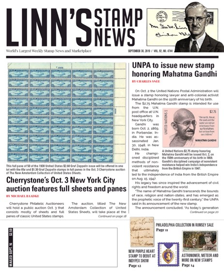 Linn's Stamp News Weekly Cover - 9/30/2019