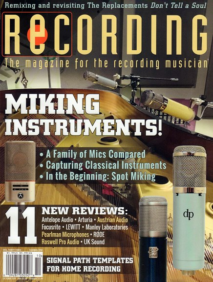 Recording Magazine Cover - 10/1/2019