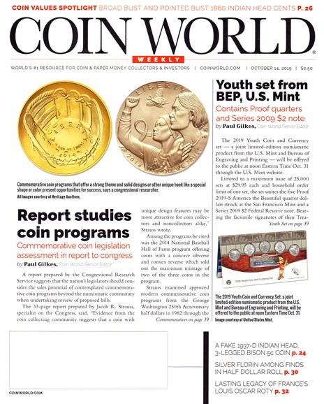 Coin World Weekly Cover - 10/14/2019