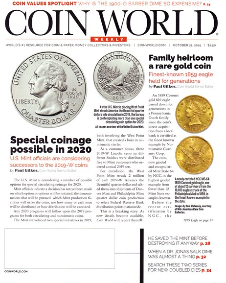 Coin World Weekly Cover - 10/21/2019