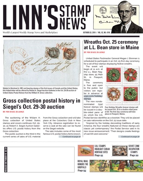 Linn's Stamp News Weekly Cover - 10/28/2019