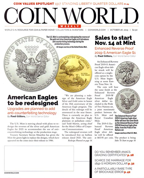 Coin World Weekly Cover - 10/28/2019