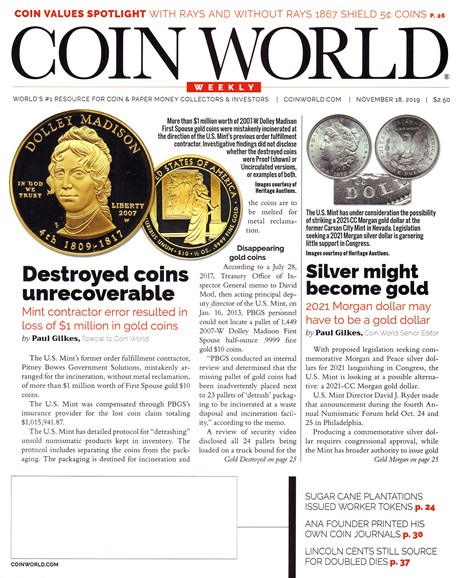 Coin World Weekly Cover - 11/18/2019