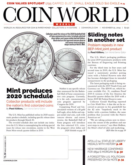 Coin World Weekly Cover - 11/25/2019