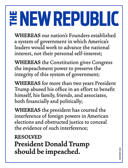 The New Republic Cover - 12/1/2019