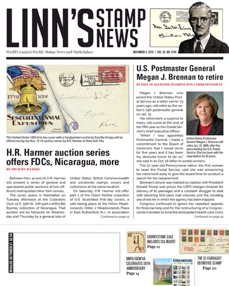 Linn's Stamp News Weekly Cover - 11/4/2019