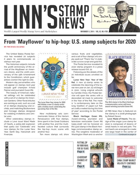 Linn's Stamp News Weekly Cover - 11/11/2019