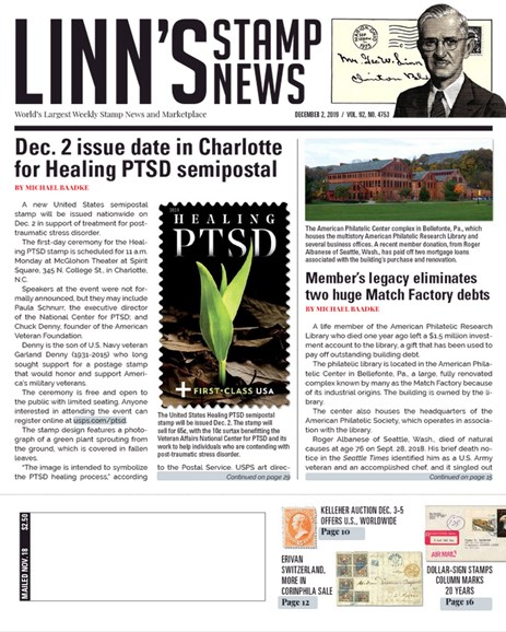 Linn's Stamp News Weekly Cover - 12/2/2019