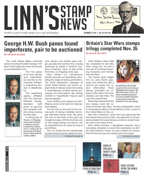 Linn's Stamp News Weekly Cover - 12/9/2019