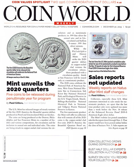 Coin World Weekly Cover - 12/30/2019
