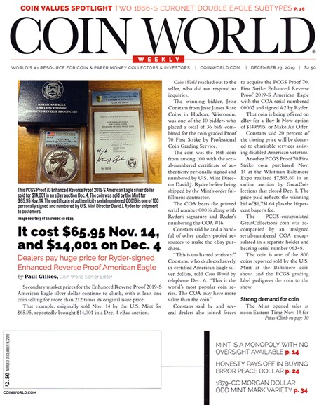 Coin World Weekly Cover - 12/23/2019