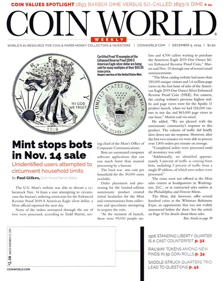 Coin World Weekly Cover - 12/9/2019