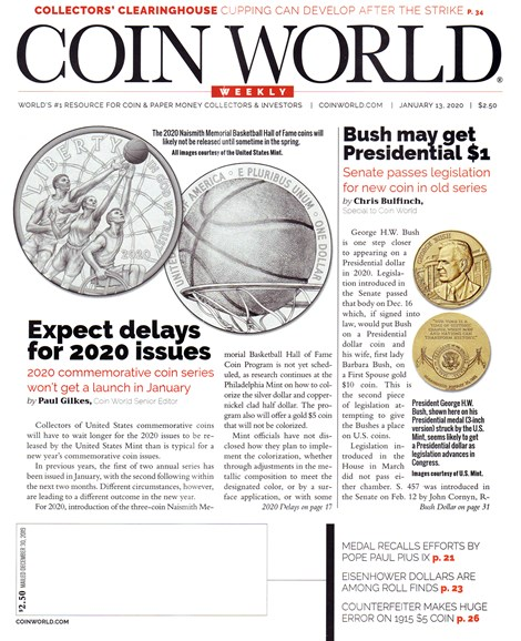 Coin World Weekly Cover - 1/13/2020